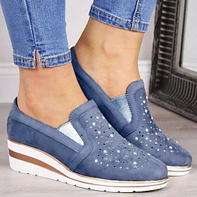 voordelige Damessneakers-Dames Sneakers Platte hak Ronde Teen Suède Herfst winter Blauw / Roze / Grijs