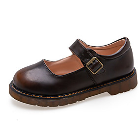 voordelige Damesschoenen met platte hak-Dames Platte schoenen Platte hak Ronde Teen PU Informeel Herfst Zwart / Bruin