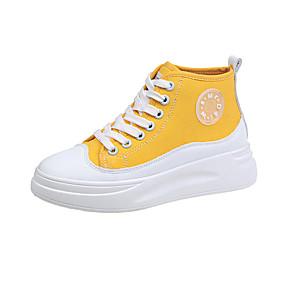 voordelige Damessneakers-Dames Sneakers Creepers Ronde Teen Canvas Klassiek / Zoet Lente & Herfst Zwart / Geel / Groen / leuze