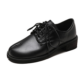 voordelige Dames Oxfords-Dames Oxfords Blokhak Ronde Teen PU Informeel Herfst Zwart