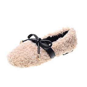 voordelige Damesschoenen met platte hak-Dames Platte schoenen Platte hak Ronde Teen Imitatiebont / PU Informeel Herfst Zwart / Groen / Khaki