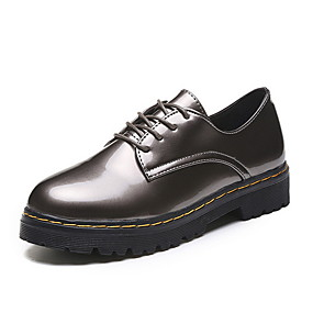 voordelige Dames Oxfords-Dames Oxfords Platte hak Ronde Teen PU Herfst winter Zwart / Bruin / Goud