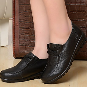 voordelige Damesschoenen met platte hak-Dames Platte schoenen Platte hak Ronde Teen EVA / Leer Lente zomer / Herfst winter Zwart / Rood