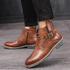 billige Mote Boots-Dame Støvler Lav hæl Rund Tå PU Ankelstøvler Høst vinter Svart / Mørkebrun / Gul