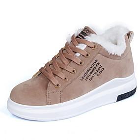 voordelige Damessneakers-Dames Sneakers Platte hak Ronde Teen Suède Korte laarsjes / Enkellaarsjes Herfst winter Zwart / Bruin / Beige