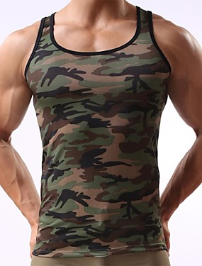 cheap Weekly Deals-Men's Sports Active Slim Tank Top - Camouflage Print / Sleeveless