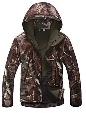 cheap Sports & Outdoors-Men's Camo / Camouflage Camouflage Hunting Jacket Outdoor Thermal / Warm Windproof Breathable Rain Waterproof Spring Fall Winter Fleece Jacket Hoodie Softshell Jacket Camping / Hiking Hunting Fishing