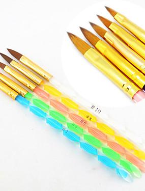 voordelige Nagelborstels-5pcs 5 kleuren maten 2-weg professionele uv gel borstel set acryl nail art schilderij gelijkspel borstel
