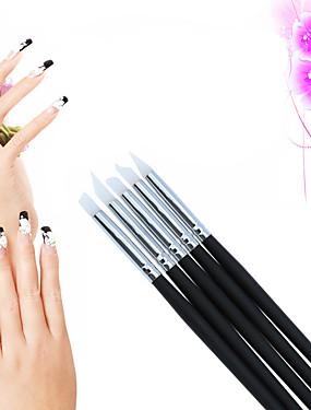 voordelige Nagelborstels-5 stuks Siliconen / Hout Nail Art Tool Nagelborstels Nail Painting Tools Voor Noviteit Nagel kunst Manicure pedicure leuke Style
