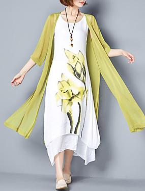 7ca7b85ab1d4e Kadın's Büyük Bedenler Çin Stili Pamuklu Salaş İki Parça Elbise - Çiçekli,  Desen Maksi