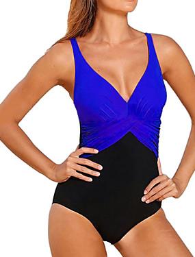 お買い得  ファッション-女性用 プラスサイズ ストラップ レッド ブルー ネービーブルー ラップ ブリーフ ワンピース スイムウェア - カラーブロック ブラック&ホワイト パッチワーク XXL XXXL XXXXL レッド