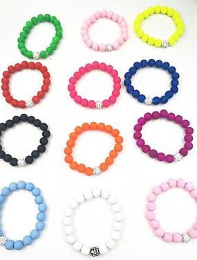 abordables Bracelet Perles-Bracelet à Perles Femme Résine dames Rétro Vintage Naturel Mode Bracelet Bijoux Vert Rose Bleu clair Forme de Cercle pour Cadeau
