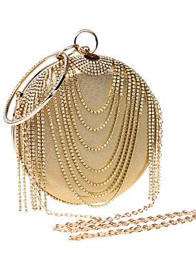 billige Bryllup & Eventer-Dame Rhinsten polyester / PU Aftenveske Rhinestone Crystal Evening Bags Gull