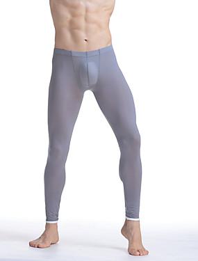 お買い得  メンズパジャマ&バスローブ-男性用 コットン ナイロン セクシー ロングジョンズ ソリッド ベーシック ミディアムウエスト