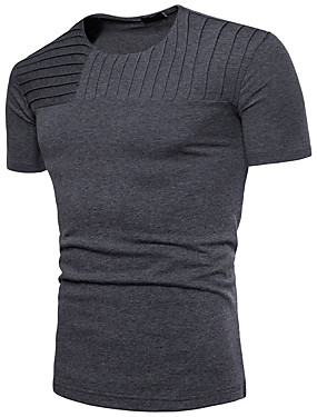 a069ba48ab59 Men s Basic Cotton T-shirt - Solid Colored Patchwork Round Neck   Short  Sleeve   Summer