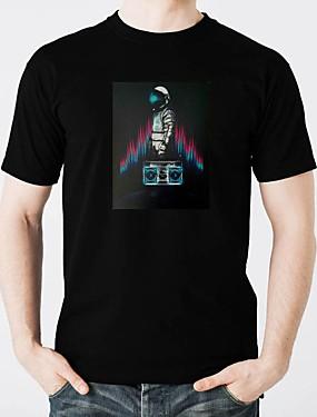 billige Karneval kostymer-LED T-skjorter Glødende Ren bomull LED / Fritid 2 AAA Batterier