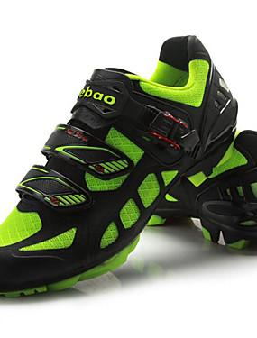billige Sport og friluftsliv-Tiebao® Mountain Bike-sko Karbonfiber Anti-Skli Sykling Grønn / Svart Herre Sykkelsko / ånd bare Blanding / Krok og øye