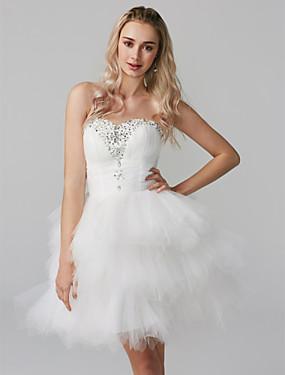 voordelige De Bruiloftswinkel-Baljurk Sweetheart Kort / Mini Tule Cocktailparty Jurk met Kralen / Lagen door TS Couture®