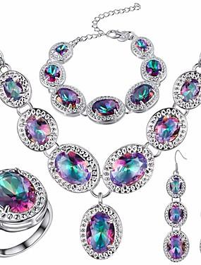 Dam Opal Kubisk Zirkoniumoxid Vintage Stil Retro Smyckeset Försilvrad  Statement 07557837a5616