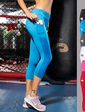 abordables Sports & Loisirs-FORSINING Femme Poche Pantalon de yoga Des sports Maille Elasthanne Leggings 3/4 Pantacourt Bas Zumba Course / Running Fitness Grandes Tailles Tenues de Sport Respirable Séchage rapide Power Flex