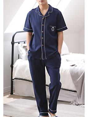 お買い得  メンズパジャマ&バスローブ-シャツカラー スーツ パジャマ 男性用 ソリッド