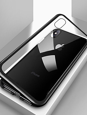 levne Telefony a příslušenství-Carcasă Pro Apple iPhone X / iPhone 8 / iPhone 8 Plus Nárazuvzdorné / Průhledné / Magnetické Celý kryt Jednobarevné Pevné Tvrzené sklo / Kov pro iPhone X / iPhone 8 Plus / iPhone 8