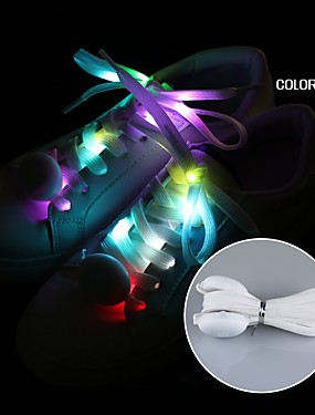 9264a94acfa3 1 Pair 2018 New LED Shoelaces Luminous Flashing Shoe Laces Disco Party Light  Up Glow Nylon Strap