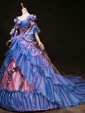 billige Leker og hobbyer-Cinderella Prinsesse Victoria Style Rokoko Kjoler Drakter Party-kostyme Maskerade Dame Kostume Regnbue Vintage Cosplay Fest Skoleball 3/4 ermer