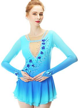 저렴한 스포츠 & 아웃도어-피겨 스케이트 드레스 여성용 여아 아이스 스케이팅 드레스 블루 스판덱스 스트레치 원사 높은 탄성 경쟁 스케이트 의류 수공 엠보스트 패션 긴 소매 아이스 스케이팅 겨울 스포츠 피겨 스케이트