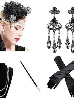 povoljno Igračke i hobiji-The Great Gatsby Čarlston 1920s Gatsby Roaring 20s Rukavice Traka za kosu u stilu 20-ih Žene Rese Kostim Šeširi Naušnica Igazgyöngy nyaklánc Plava / Zlatan / Burgundac Vintage Cosplay Party Prom