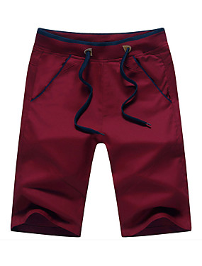 cheap Weekly Deals-Men's Cotton Slim Straight / Loose / Shorts Pants - Solid Colored Red / Spring / Weekend