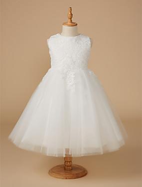 ราคาถูก งานแต่งงาน-บอลกาวน์ เสมอเข่า ชุดสาวดอกไม้ - ลูกไม้ / Tulle เสื้อไม่มีแขน อัญมณี กับ เข็มกลัด โดย LAN TING Express