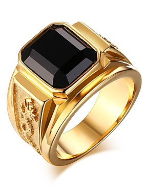 billige Herresmykker-Herre Ring / Signet Ring 1pc Gull / Svart Titanium Stål / Legering Gave / Daglig Kostyme smykker