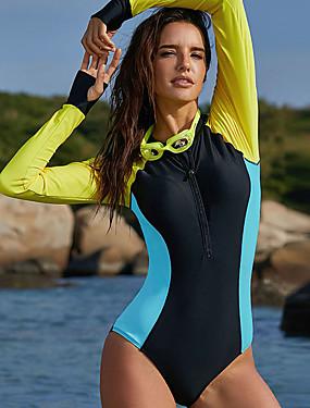 ieftine Sport i aktivnosti na otvorenom-Delamon Pentru femei Costum de baie Protecție UV la soare Uscare rapidă Purtabil Nailon Manșon Lung Costume de Baie Costum de plajă Costume de Baie Salopetă Peteci Înot / Strech