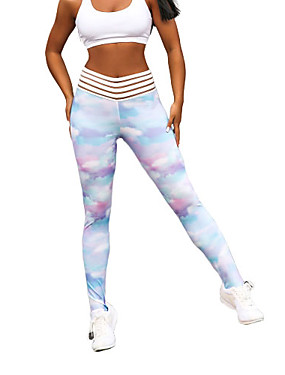 cheap Sports & Outdoors-Women's Yoga Pants Sports Fashion Elastane Tights Leggings Bottoms Running Fitness Gym Workout Activewear Moisture Wicking Butt Lift Tummy Control Power Flex High Elasticity Skinny / Tie-Dye
