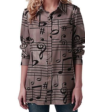 povoljno Ženske majice-Majica Žene Dnevno Geometrijski oblici Print Braon