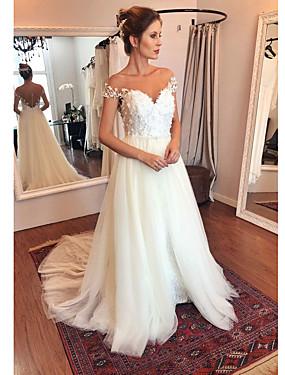 voordelige De Bruiloftswinkel-A-lijn Schouderafhangend Strijksleep Polyester / Tule Op maat gemaakte trouwjurken met Appliqués door LAN TING Express