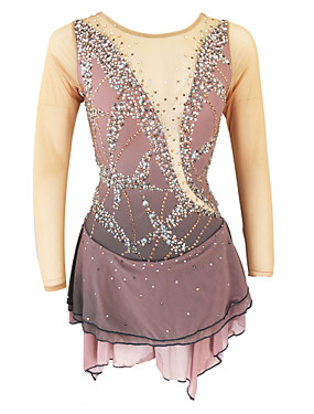 cheap Sports & Outdoors-Figure Skating Dress Women's Girls' Ice Skating Dress Khaki Open Back Spandex High Elasticity Training Skating Wear Solid Colored Classic Crystal / Rhinestone Long Sleeve Ice Skating Figure Skating