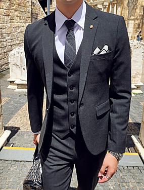 voordelige De Bruiloftswinkel-Zwart / Grijs Ruudullinen Strak Polyester Pak - Inkeping Single Breasted een knoops