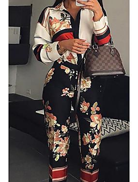 billige Jumpsuits til damer-Dame Grunnleggende Hvit Kjeledresser, Blomstret Trykt mønster S M L