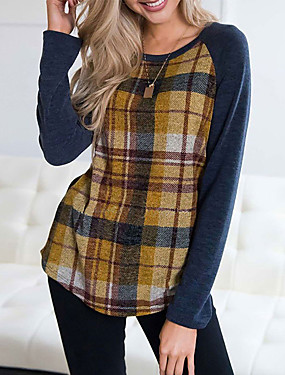 povoljno Novo u ponudi-Majica s rukavima Žene Dnevno Color block purpurna boja