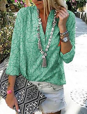 povoljno Novo u ponudi-Majica Žene Dnevno Karirani uzorak purpurna boja