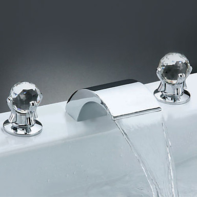 Contemporary Ceiling Mounted Waterfall Ceramic Valve Two Handles Three Holes Chrome, Bathroom Sink Faucet
