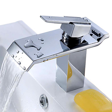 Çağdaş Şelale Seramik Vana Tek Kolu Bir Delik Krom, Banyo Lavabo Bataryası
