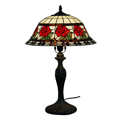 Tiffany-style Red Rose Table Lamp(0923-T12)