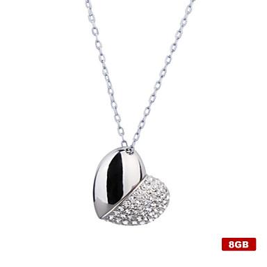 Collar y Memoria USB de 8GB con Forma de Corazón en Plateada