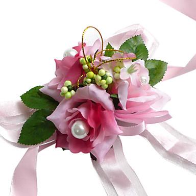 mooie roze zijden roos met chiffon decoratie huwelijk / bruids pols bloem