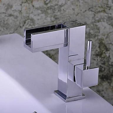 Moderne Centersat Vandfald Keramik Ventil Enkelt håndtag Et Hul Krom, Håndvasken vandhane