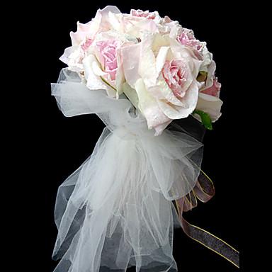 Flori de Nuntă Rotund Legat Manual Trandafiri Buchete Nuntă Petrecere / Seară Satin Roz 9.84