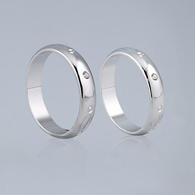 étonnant zircone cubique avec des anneaux en alliage chromé amoureux set de 2